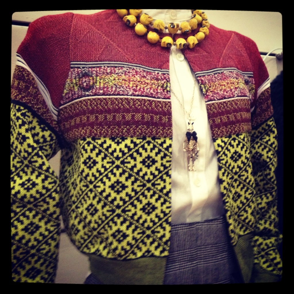 Toga Cardigan & Skirt, Shebee Necklace, Servane Gaxotte Necklace & Y's Shirt